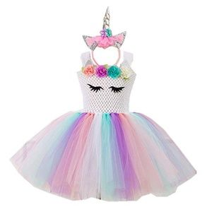 Unicorn Tutu Dress for Girls. Headband